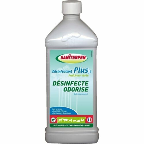 Saniterpen Plus est un désinfectant concentré homologué pour traiter l'environnement de vos chiens, chats, chevaux, volailles,…