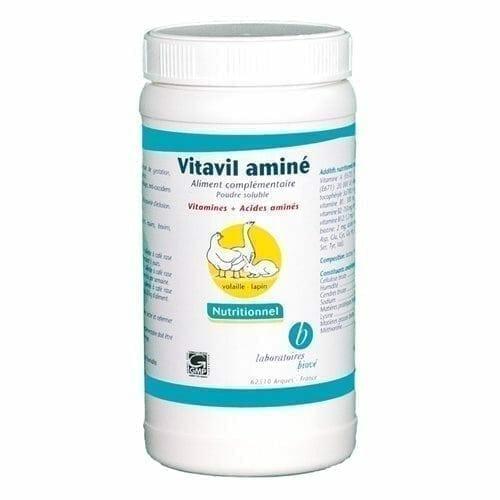 Vitavil Aminé est un supplément nutritionnel qui couvre les carences vitaminiques et d'origine alimentaire chez les volailles et les lapins en apportant les vitamines et les acides aminés nécessaires.